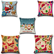 Set Of 5 Christmas Santa Claus Pillow Cover Square Father Christmas Pillow Case