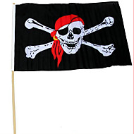 Halloween Party Performance Props 30 * 45 With Rod Pirate Flag Red Scarf Pirate Skull Pirate Flag
