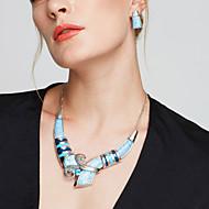 Smykke Sæt Stangøreringe store halskæder Mode Europæisk Statement-smykker Sølvbelagt Smykker Blå Regnbue Halskæder Øreringe ForFest