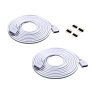2st 2m lång förlängningskabel Anslut kvinnlig kontakt för RGB 3528 5050 band med 4st 4pin kontakter man