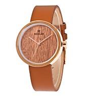 女性用 ファッションウォッチ 腕時計 ウッド 日本産 クォーツ 木製 PU バンド チャーム エレガント腕時計 ブラウン