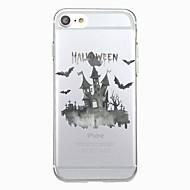 Voor iphone 7plus case hoesje transparant patroon achterkant hoesje dier halloween vleermuis zacht tpu voor iphone 7 6splus 6plus 6s 6 5