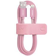 mfi-sertifisert momax lynledning 1m 2,4a rask lading vevd flis lyn til usb kabel for iphone ipad ipod 5 / 5s / 6 / 6s / 6 pulser mfi