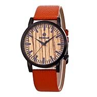 男性用 女性用 ファッションウォッチ 腕時計 ウッド 日本産 クォーツ 木製 本革 バンド チャーム カジュアルスーツ オレンジ