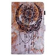 voor case cover kaarthouder portemonnee met tribune flip patroon full body case landschap droom catcher hard pu leer voor samsung tab e