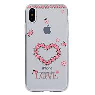 Kompatibilitás iPhone X iPhone 8 iPhone 8 Plus tokok Átlátszó Minta Hátlap Case Szív Virág Puha Hőre lágyuló poliuretán mert Apple iPhone