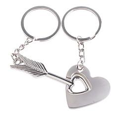 roestvrij liefhebbers sleutelhangers (pijl over het hart / 2-delige set)