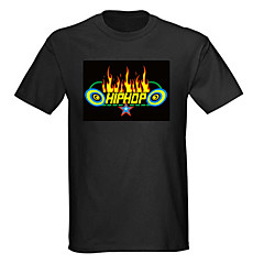 Sound and Music Activated Spectrum VU Meter EL Visualizer LED T-shirt (4*AAA)