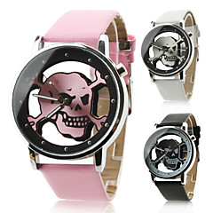 Unisex Quartz Analog Hollow Skull Style Dial PU Band Wrist Watch (Assorted Colors)