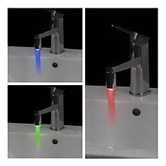 baño de agua que funcionan cilíndricos de luz LED grifo (de plástico, acabado en cromo)