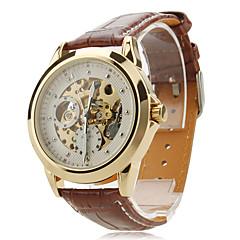 Herren Armbanduhr Automatikaufzug Transparentes Ziffernblatt Leder Band Schwarz / Braun Marke- SHENHUA