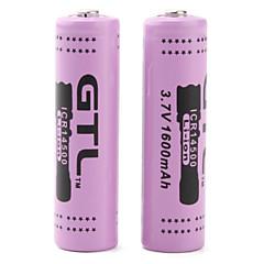 GTL icr14500 3.7v uppladdningsbart 14.500 Li-Ion batteri (2-pack, 1600mAh)