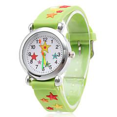 siliconen analoge quartz horloge met cartoon ster (groen)