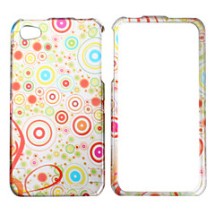 Colorful Round Pattern Style Back Case and Bumper Frame for iPhone 4 and 4S (White)