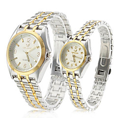 Pair of Alloy Analog Quartz Couple's Watches with Silver Face (Silver and Gold)