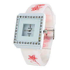 Women's Square Diamond Style Silicone Analog Quartz Wrist Watch (Random Colors) Cool Watches Unique Watches