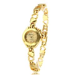 קוורץ טבעת זהב סגסוגת הלב של נשים בצורת אנלוגיות צמיד שעונים