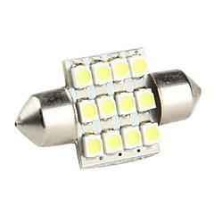 31mm 0.84w 1210 SMD 12-LED valkoinen valo köynnös lamppu auton lamput (DC 12V)