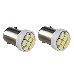BA9S 8x1206 SMD White Light LED Bulb for Car Dashboard/Trunk Lamps (2-Pack, DC 12V)