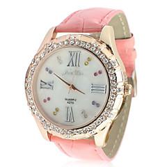kobiet zespół skóra analogowe kwarcowy zegarek z dekoracji rhinstone (różowy)