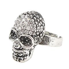 rhinestone moda del cráneo del anillo tachonado