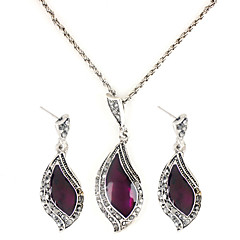 Crescent Shape Gem Necklace and Earrings
