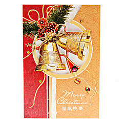 10-Pack Christmas Bells Hollow Pattern Christmas Greeting Card with Envelope (10-inch)