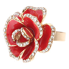 Red Roses Metal Fully-jeweled Adjustable Ring