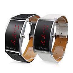 PUレザーベルト LED 腕時計-ペア(ブラックとホワイト)