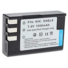 Batterie Digital Video Remplacer Nikon EN-EL9 pour Nikon D40 D40x et plus (7,4 V, 1000 mAh)