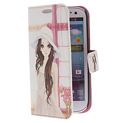Lovely Girl malli PU Leather Case Stand for Samsung Galaxy S3 I9300