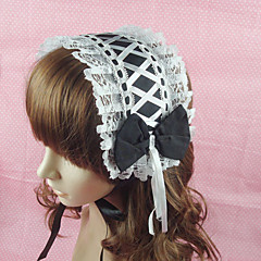 Handmade Black Cotton White 34cm Maid Cosplay Lolita Headband
