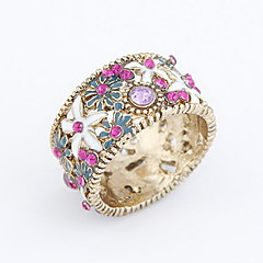 Alloy Zircon Hollow-out Chrysanthemum Pattern Ring (assorterede farver)