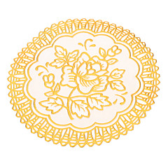 Rose Pattern Golden Lace Rund PVC Coaster