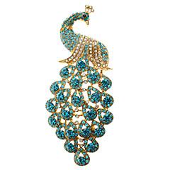 Women's  Blue Peacock Brooch
