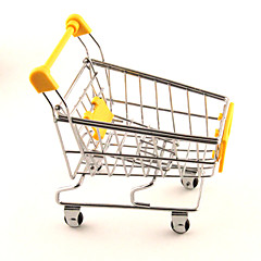 Mini Cute Simulation Shopping Cart Alloy Desk Storage