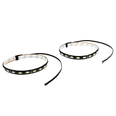 Waterproof 30 centímetros 9W 18x5730SMD White LED Light Strip para carro (12V, 1-Par)
