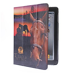 Horse Pattern PU Leather Case with Stand for iPad 2/3/4