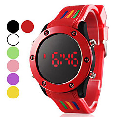 Unisex LED Digital Round Dial Silicone Band Wrist Watch (Assorted Colors)