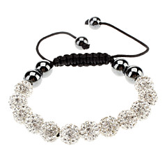 M10 mm Drill White Ball Hand Woven Bracelet