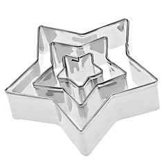 Πεντάκτινο αστέρι σχήμα από ανοξείδωτο Cookie Κόφτες Set Χάλυβα (3-Pack)