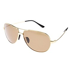 Unisex Brown Lens Gold Frame Aviator Sunglasses