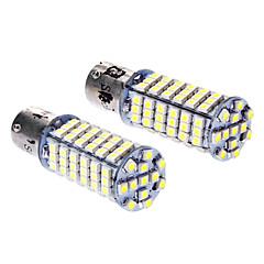 BAU15s 102x3528SMD 5W 400lm 6000-6500K White Light LED pære til bil (DC 12V, 1-Pair)
