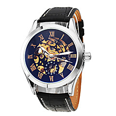 SHENHUA Męskie Zegarek na nadgarstek zegarek mechaniczny Nakręcanie automatyczne Grawerowane Skóra Pasmo Czarny Black