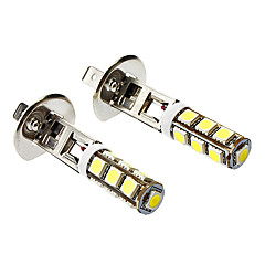 H1 6W 500LM 13X5060SMD White Light LED Corn Polttimo Auton sumuvalon (DC 12V, 1-Pair)