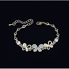 Gold Plated Alloy Zircon Butterfly Pattern Bracelet