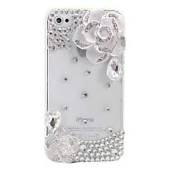 Camellia Ornament Transparent Back Case for iPhone 4/4S