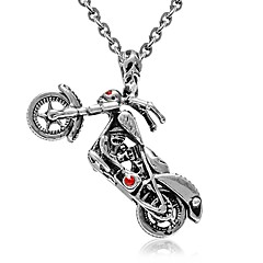 """Men Titanium teel Necklace Red Eye kull Motorcycle Pendant with O chain 19"""""""