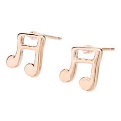 Rose Gold Music Note Shape Stud Earrings