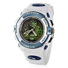 Dial Rubber Band Relógio de pulso dos homens Multi-Function Analog-Digital Quartz (branco)